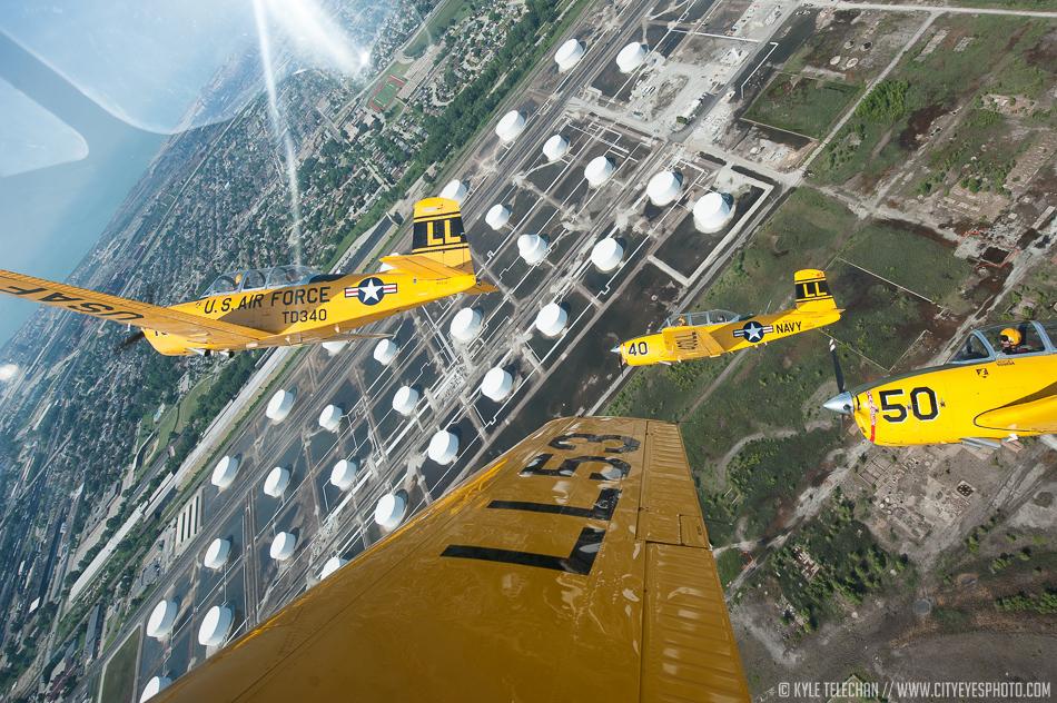 The Lima Lima flight team performs over Northwest Indiana on Friday. (Kyle Telechan/Post Tribune)